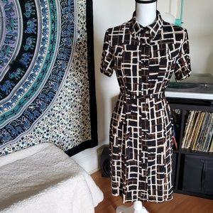 Carole Little Collared Shirt Tie Dress